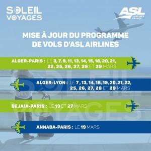 Vols ASL Airlines Algérie-France /Mars 2021